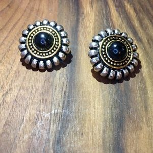 Silver & Gold Round Black Clip On Earrings